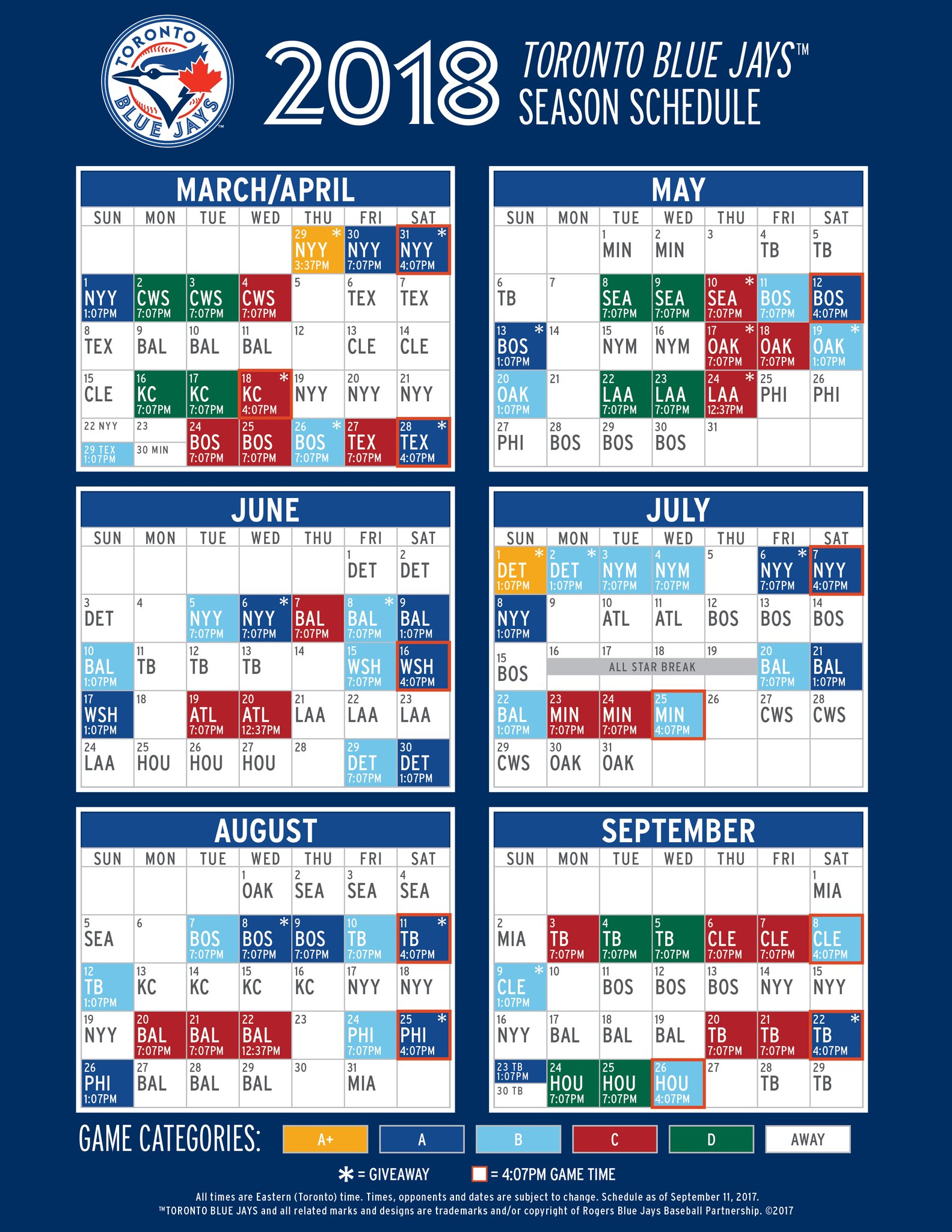 The 2018 Blue Jays Schedule Is Out: Here Are The ...